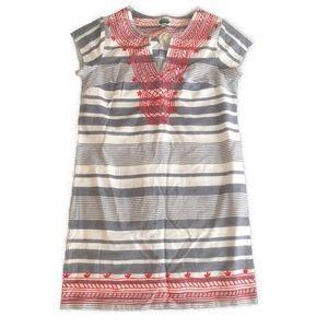 Mudpie Cream Chambray Striped Tunic Shift Dress